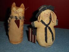Handmade FOLK ART Cat & Rabbit Dolls Signed Originals Dipped Canvas AMERICANA
