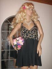 belle robe de soirée dos nu lolita courte noire imprimée blanc et or   ref 1744