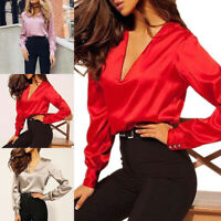 New Women Sexy Deep V-neck T-shirt Long Sleeve Blouse Satin Tops Solid Fashion