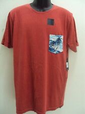 NEW RIP CURL SURF MEN PALMTATION HERITAGE WASH OFF RED TEE T SHIRT LARGE LL85