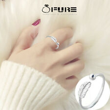 Pure 925 Sterling Silver Feather Ring Open Band Adjustable Jewelry Silver Women