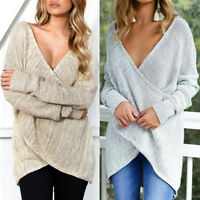 Women Casual Loose Sexy V Neck Long Sleeve Pullover Jumper Sweater Knitwear Good