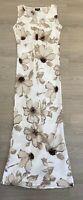 Vintage MARILYN ANSELM HOBBS 100% Linen Cream Floral Long Maxi Dress UK 12