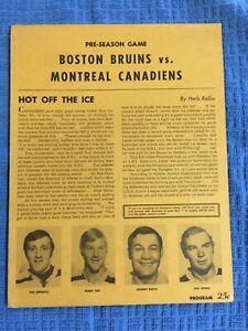 BOSTON BRUINS 1972 Pre-Season .25c Game Program VS Montreal Canadians,ORR,RARE !