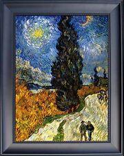 "Van Gogh Cypresses Under Starry Sky Canvas Black Frame Giclee Repro 20"" x 16"""