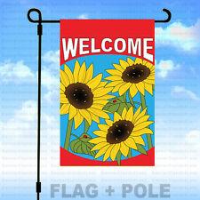 12x18 Garden Flag Pole Kit (Pole+Flag) Spring Summer Sunflower - Welcome