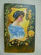 Vintage Embossed Postcard / Woman / Unposted