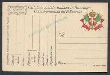 CARTOLINA Militare in franchigia 1917 P.A. Molina Varese NUOVA (F4)