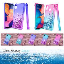 For Samsung Galaxy A10E |A20 Case Liquid Glitter Cover +Soft HD Screen Protector