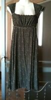 WOMEN'S STUDIO M BLACK WITH FLORAL PRINT SLEEVELESS TIES BACK STRETCHY DRESS S