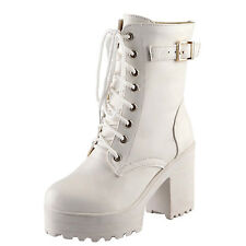 Western Shoes Winter Casual Chelsea Lace up BOOTS UK Sz 1 2 3 4 5 6 7 8 Whites 34-42 ( Size Tag CN 39)