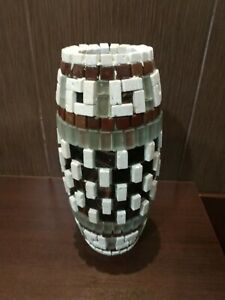 Exclusive Handmade Flower Vase, Italian Mosaic (Natural Stone, Marble and Glass)