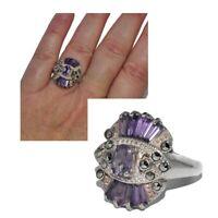 Bague en argent massif 925 zirconium violet et marcassite T 52 bijou