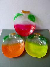 3 assiettes ou coupelles, fruits, orange, citron, pomme, Movitex, vintage An 70