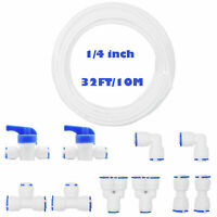 """1/4"""" Quick Connect Push in Fitting 10pcs + 32ft Purifiers White Water Tubing"""