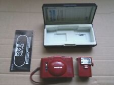 Olympus XA2 35mm Compact Film Camera in RED with A11 Flash, instructions & Case