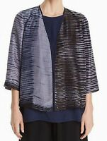 Eileen Fisher NEW Gray Black Womens Size Small S Silk Open Front Jacket $398 772