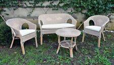 Salottino kely in vimini bianco set esterno completo tavolo,divano poltrone cusc