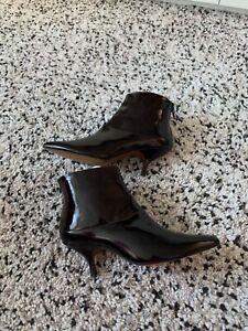 Finery London kitten heels patent leather ankle boots sz 37 Uk 4 Worn once insid