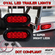 """2Pcs Trailer Truck LED Sealed RED 6"""" Oval Stop Turn Tail Light Marine Waterproof"""