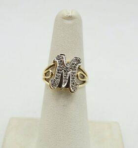 """14K Two Tone Gold 14 Diamond """"M"""" Initial Ring Size 5.5 14mm 4.3g S2744"""