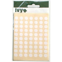 980 x Sticky White 8mm Dots Labels Round Circles Self Adhesive Stickers by Ivy