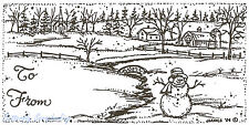 Christmas Tag Snowman Scene Wood Mounted Rubber Stamp Northwoods NEW O3889