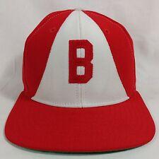 VINTAGE NEW ERA DUPONT VISOR PRO MODEL SNAPBACK HAT CAP RED WHITE RETRO HIPSTER