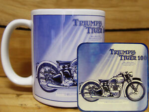 300ml COFFEE MUG WITH MATCHING COASTER - TRIUMPH TIGER 100