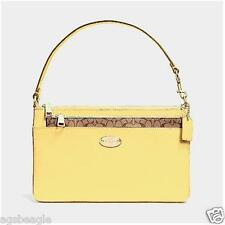 Coach Wristlet F52598 Leather Pop Pouch Pale Yellow Agsbeagle