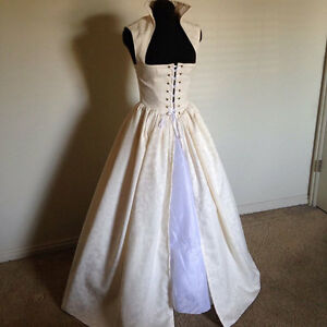 Off White Irish Wedding Celtic Renaissance Dress Gown Costume  & more colors!