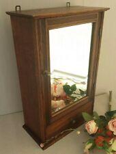 Vtg Antique Kitchen Apothecary Bathroom Cabinet Beveled Mirror Carved Wood Oak