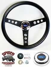 "1963-1964 Fairlane Galaxie steering wheel BLUE OVAL 13 1/2"" CLASSIC BLACK"