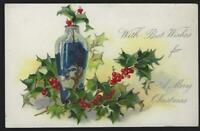 Tuck's Merry Christmas Postcard Art and Crafts Vase with Holly Unused Vintage
