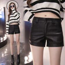 Womens Black Faux Leather Shorts Ladies Wet Look PU Hot Pants Trousers Punk Rock