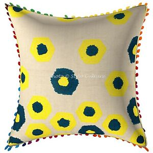 Traditional Cotton Couch Pillow Embroidery Pom Pom Geometrical Cushion Cover