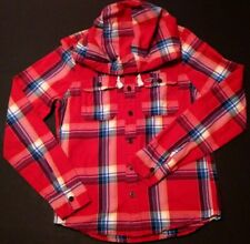 HOLLISTER - Red Plaid Button-up Hoodie - Men's Size: MEDIUM