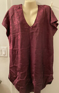 Secret Treasures ~ Maroon Rose Print Satin Nightie Gown Chemise ~ Plus 2X/3X