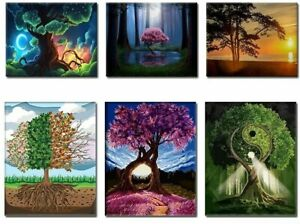 Painting by Numbers kits Includes Acrylic Paints Brush Board Canvas Nature Trees