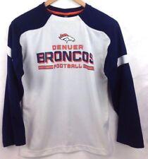 Denver Broncos Football Jersey Shirt Youth Medium 10 12 NFL Blue Long Sleeve