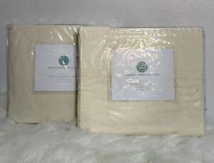Twin XL Martha Stewart Fitted & Flat Sheet Set 360 Thread Count 100% Pima Cotton