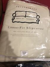 Pottery Barn Loose —Fit Slipcover Bow Twill-Sage For Loveseat