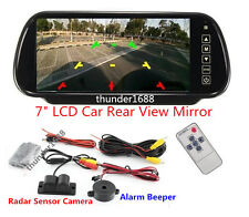 "7"" LCD Mirror Rear View Monitor & Reverse Parking Camera + Radar Sensor System"