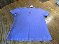LIFE IS GOOD SS CRUSHER HEART PURPLE  T-Shirt  Womens Size S NWT