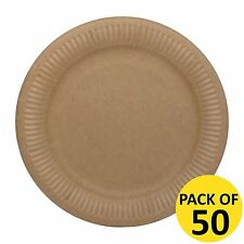 BROWN KRAFT PAPER VINTAGE SHABBY CHIC PARTY SMALL DESSERT PLATES PACK OF 50  sc 1 st  eBay & Paper Plates   eBay
