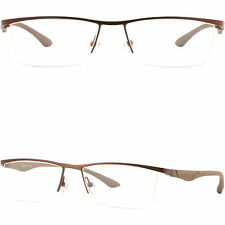 Leichte Herren Brille Brillengestell Titan Square Metall Fassung Halbrand Braun