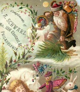 1880 G.A. Schwarz Christmas Expo. Tree Brown Coat Santa Claus Toys #5B