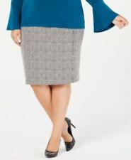 Michael Michael Kors Pencil Skirt Faux Front Zip Sz 2X White Black