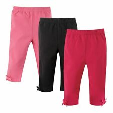 Hudson Baby Girl Baby Leggings with Knotted Ankle Bows, 3-Pack, Pink & Black