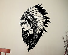 Native American Girl Wall Sticker Indian Chief Vinyl Decal Hipster Art Decor 14a